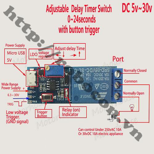 MDL52 Module Delay Timer- Mạch Tạo Trễ Cổng Micro USB