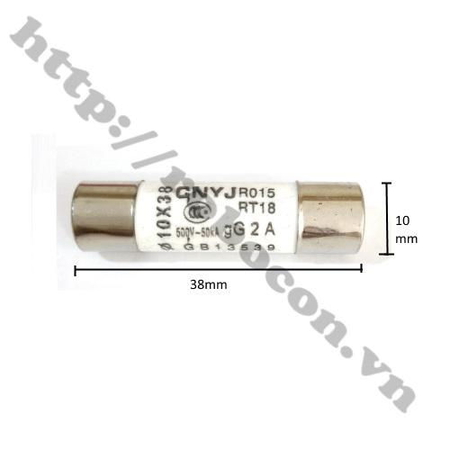 CC18 Cầu Chì Ống Sứ 10A 10x38mm