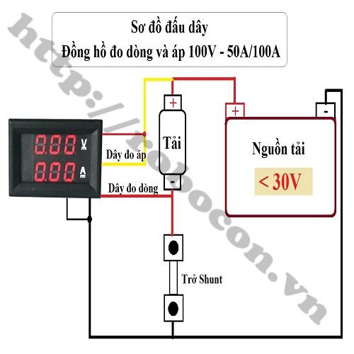 Đồng Hồ Đo Dòng Đo Áp 0-100VDC/100A Có Trở Shunt Đi Kèm