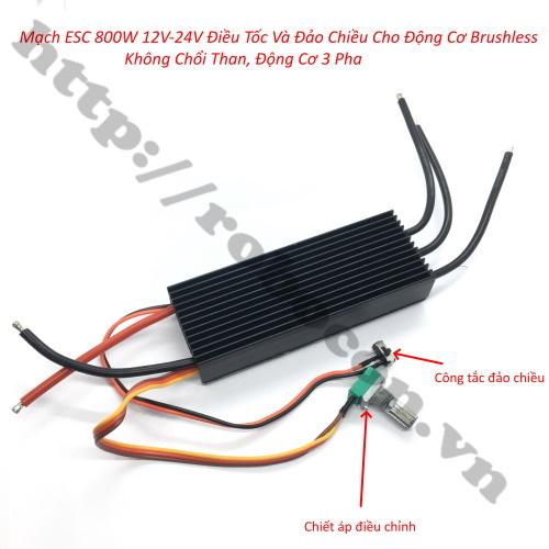 MDL333 Mạch ESC 800W Điều Tốc Và Đảo Chiều Cho Động Cơ Brushless Không Chổi Than, Động Cơ 3 Pha 12V-24V (Loại Xịn)