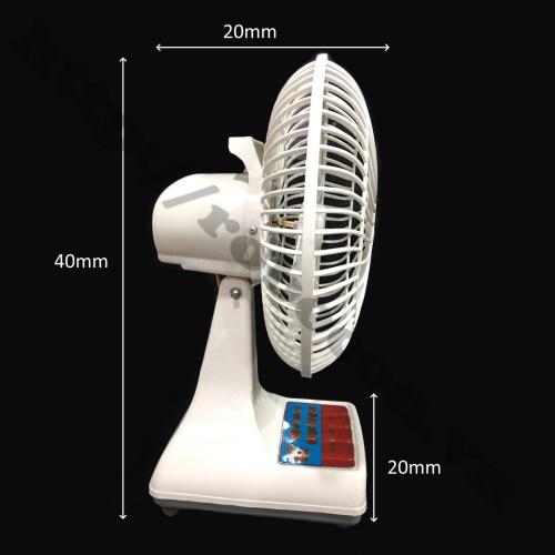 Kích Thước Quạt Bàn B2 12V Mini Kẹp Bình Ắc Quy, Pin Lithium 12V DC