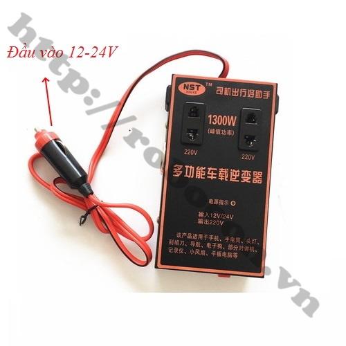 MDL296 Bộ Chuyển Đổi Nguồn Điện Từ Đầu Tẩu 12V-24V Lên 220VAC 1300W Có Sẵn Ổ Cắm