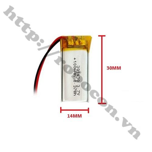 PPKP167 PIN LITHIUM 3.7V 301430 – 100MAH PIN TAI NGHE BLUETOOTH, PIN CAMERA