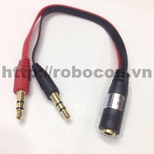 PKAT16 Dây3,5mm Audio cái ra 2 - Mic + Tai Nghe đực