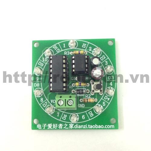 CBM10 Bộ combo mạch led nháy xổ số 555 và 4017 (Tự Hàn)