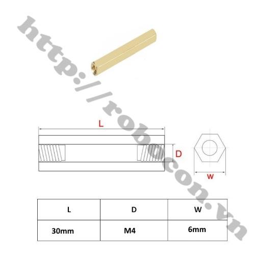 Kích Thước Trụ Đồng Lục Giác M4x30 Cái-Cái