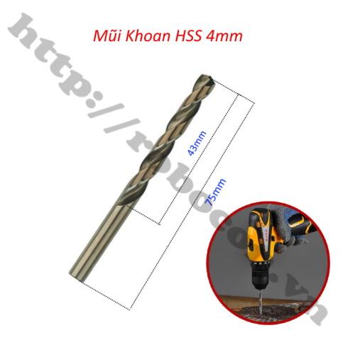 kích thước Mũi Khoan HSS 4mm Dài 75mm