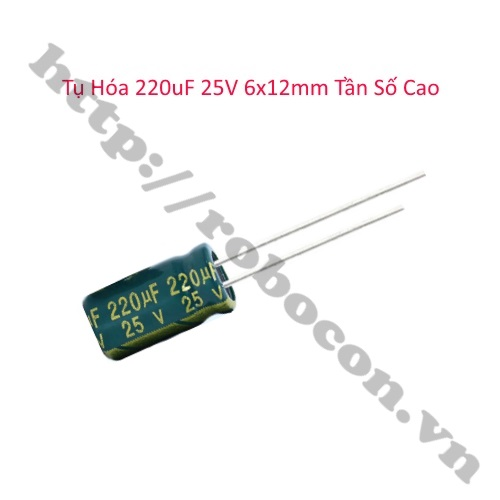 Tụ Hóa 220uF 25V 6x12mm