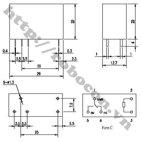 Sơ đồ relay songle 8 chân SMI-12VDC-SL2C 12V 5A