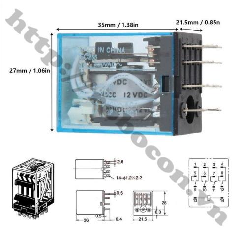 Relay Trung Gian MY4N-J 12V 5A 220VAC 14 Chân kèm đế vặn ốc