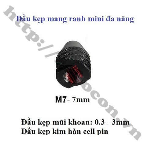 PKK773 ĐẦU KẸP MŨI KHOAN, ĐẦU MÀI, ĐĨA CẮT – M7x0.75' TRỤC 7MM.