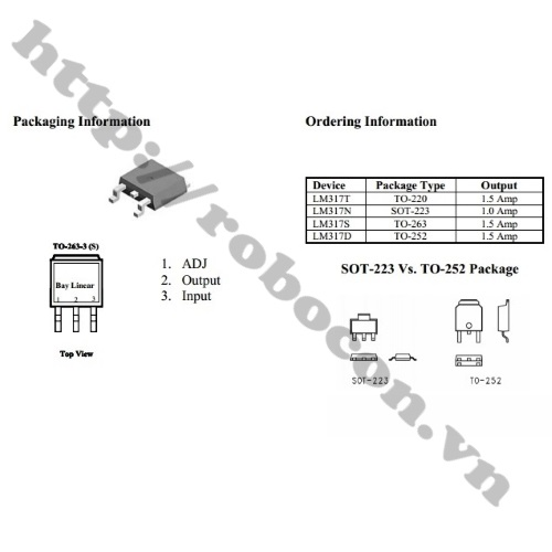 IC Ổn Áp LM317 TO252 ADJ 0.5A