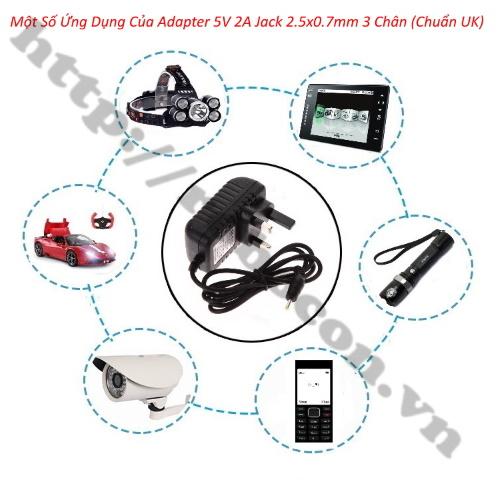 NG97 Adapter 5V 2A Jack 2.5x0.7MM Loại 3 Chân