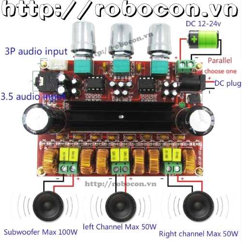 MDL71 Module Audio digital 2.1-12V-24V-TPA3116D2 2x50W + 100W (H5A5)