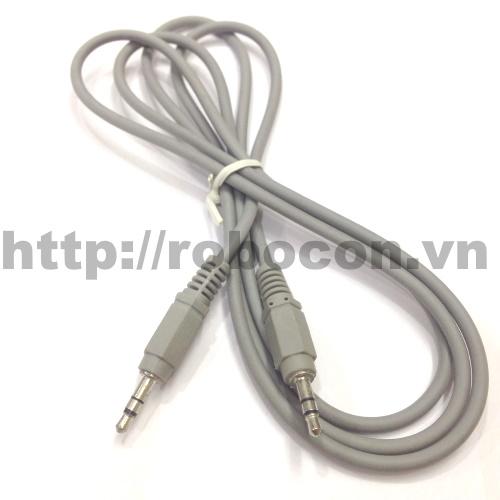 PKAT18 Dây 3.5mm Audio 1 Ra 1 Đực,  Màu Ghi 1,5m