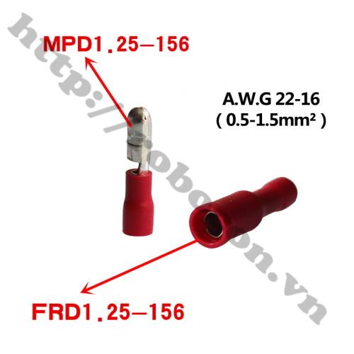 Đầu Cos Dây Điện MPD/FRD 1.25-156 Màu Đỏ (Cặp Đực Cái)