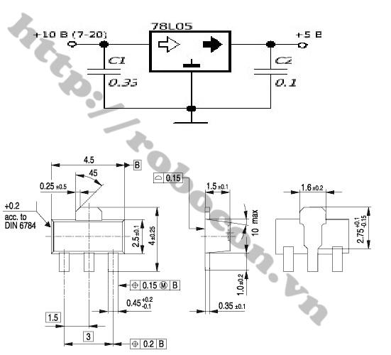 IC101 IC Nguồn 78L05 SOT89 5V-100mAh