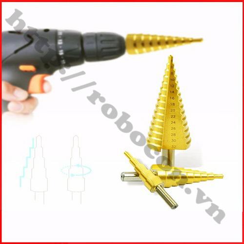 PKK323 Bộ 3 Mũi Khoan Bước Titanium 4-32mm