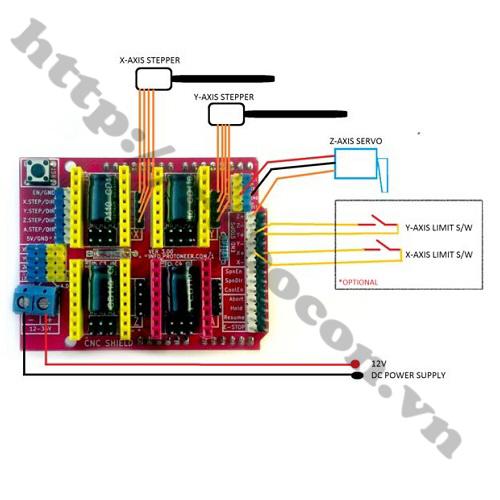 Sơ Đồ Đấu Chân Của Module CNC Shield V3 với động cơ bước và động cơ servo