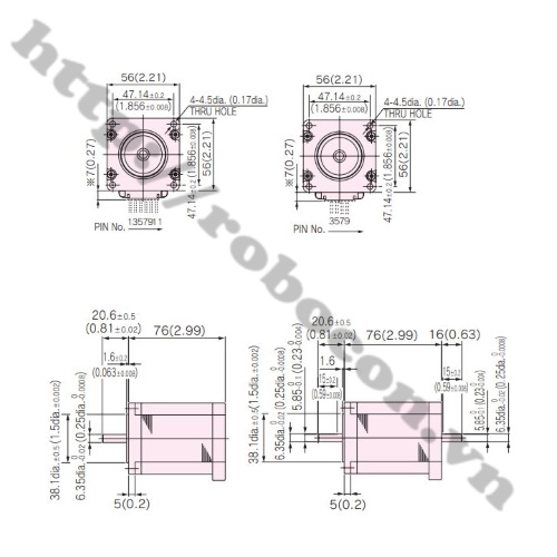 LKRB115 Động Cơ Bước Nidec Servo KH56QM2U038 56x76mm 1.3N.m