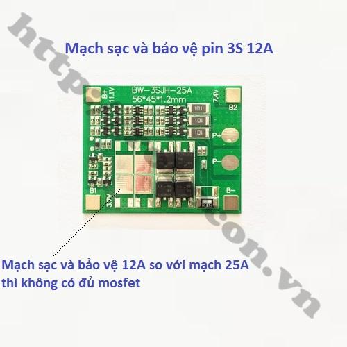 PPKP36 Mạch Sạc Và Bảo Vệ Pin 12V 3S 25A
