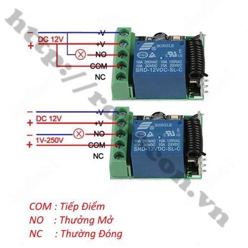 Bộ điều khiển từ xa 1 kênh 2 chức năng dùng sóng RF