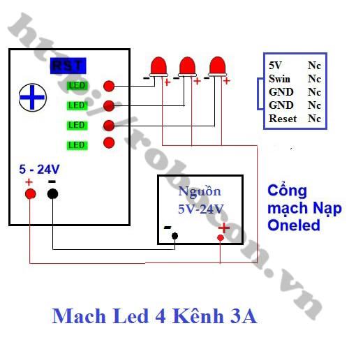 MDL176 Mạch Điều Khiển LED Vẫy 4 Kênh 3A