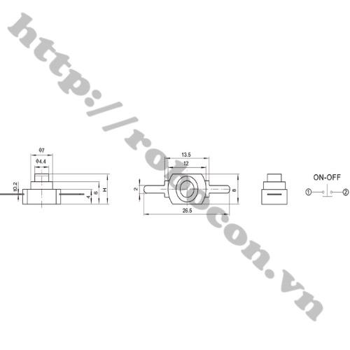 Công Tắc Nhấn Giữ- Công Tắc Đèn Pin 2P 1208YD