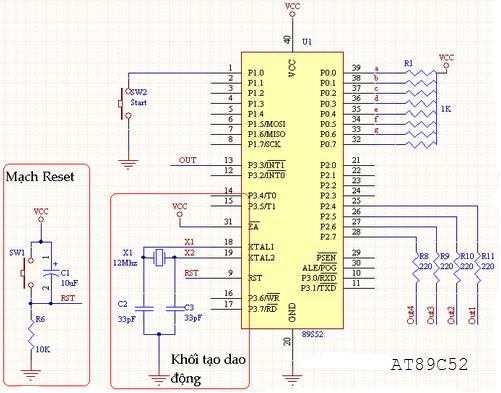 Sơ đồ kết nối phần cứng AT89C52