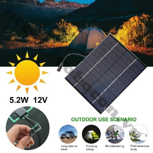 Tấm Pin Năng Lượng Mặt Trời 12V 5.2W sử dụng tiện dụng cho đi phượt