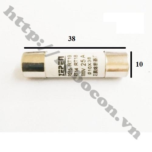 CC36 Cầu Chì Ống Sứ 25A 10x38mm
