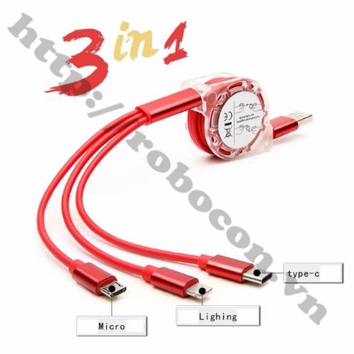 CO126 Cáp Sạc Dây Rút 3 Đầu Lightning Type C Và Micro USB