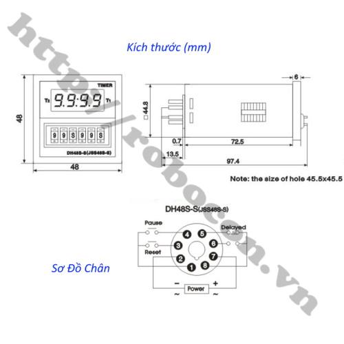 kích thước và sơ đồ chân Bộ Relay Timer Omron DH48S-S 220V 5A, Công Tắc Hẹn Giờ Bật Tắt Tự Động