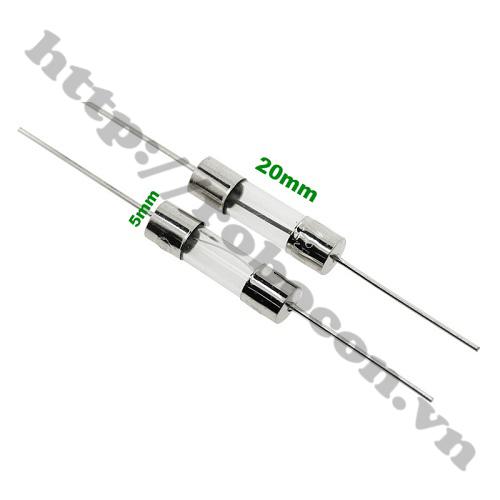 CC22 Cầu Chì Ống Thủy Tinh 5A Chân Hàn 5x20mm