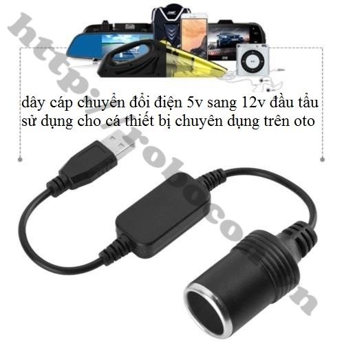 Module Cáp Chuyển USB 5V Sang Đầu Tẩu Cái 12V