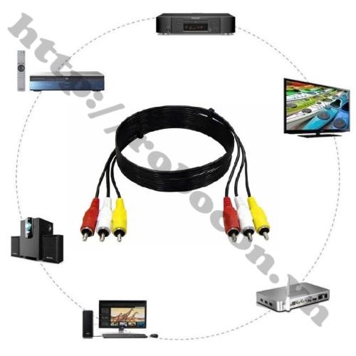 Dây Cáp AV/RCA 3 Đầu Hoa Sen Đực Ra 3 Đầu Hoa Sen Đực Dài 3m sử dụng để truyền tín hiệu cho các thiết bị điện tử trong nhà