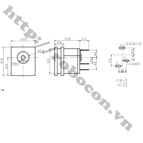 Jack Cắm Nguồn Cái DC 5.5x2.1mm DC-015