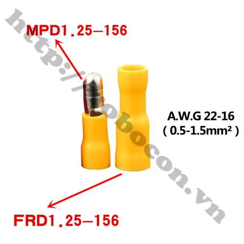 Đầu Cos Dây Điện MPD/FRD 1.25-156 Màu Vàng (Cặp Đực Cái)