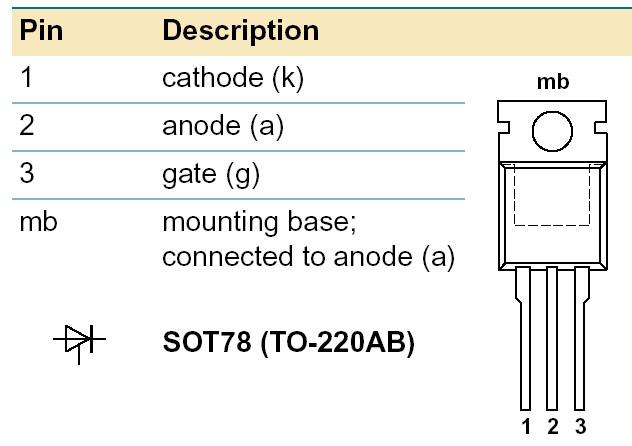 Sơ đồ chân Thyristor BT151