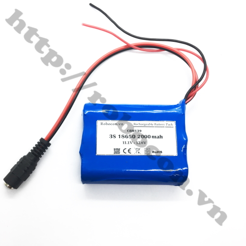 CBM139 pin sạc lithium 3S 1P 18650 11.1V-12.6V 2000mah