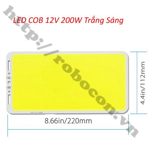 LED145 Đèn Led COB 12 - 14V 200W Trắng Sáng