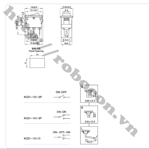 CO7 Công Tắc Bập Bênh 3A-250V KCD11-2P Chân 90 Độ