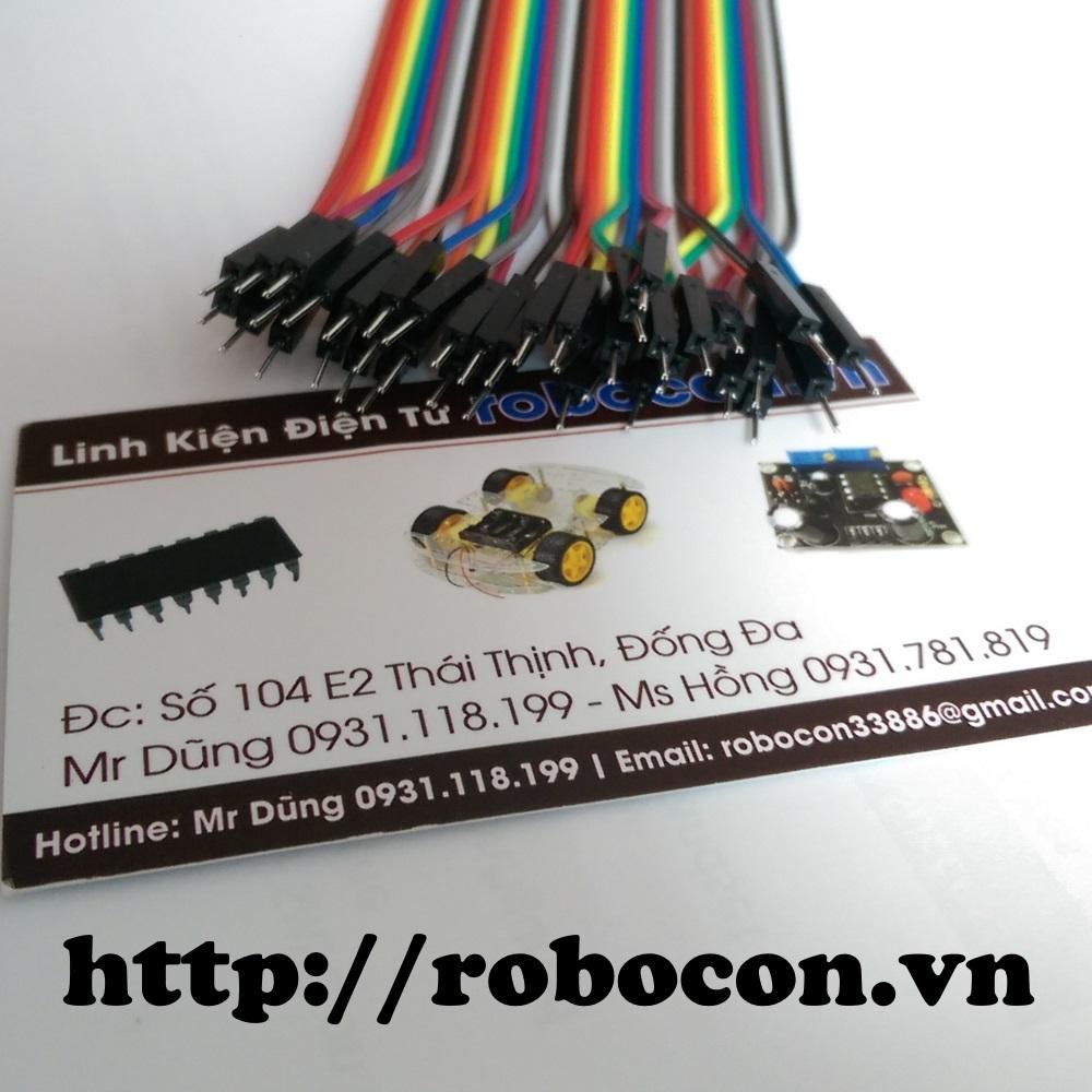 Tệp 40 sợi dây nối 20cm_10 màu loại Đực-Đực