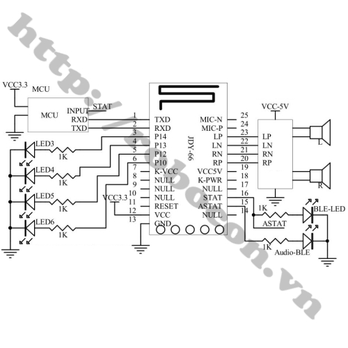 Sơ đồ đấu Module Audio Bluetooth 4.2 JDY-66 ra loa
