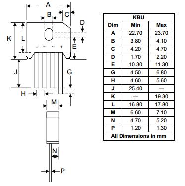 Sơ đồ chân và kích thước Diode KBU1010