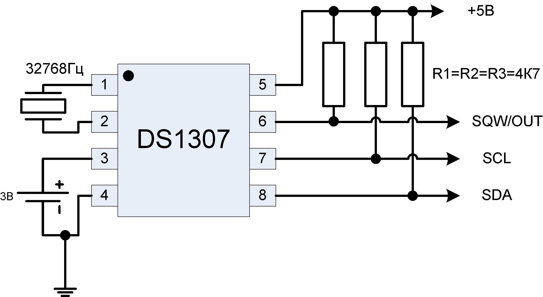 Sơ đồ đấu nối DS1307 đơn giản