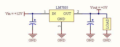 Sơ đồ kết nối L7805 với tải