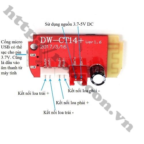 Mạch Khuếch Đại Âm Thanh Bluetooth 4.2-2x5W DW-CT14+