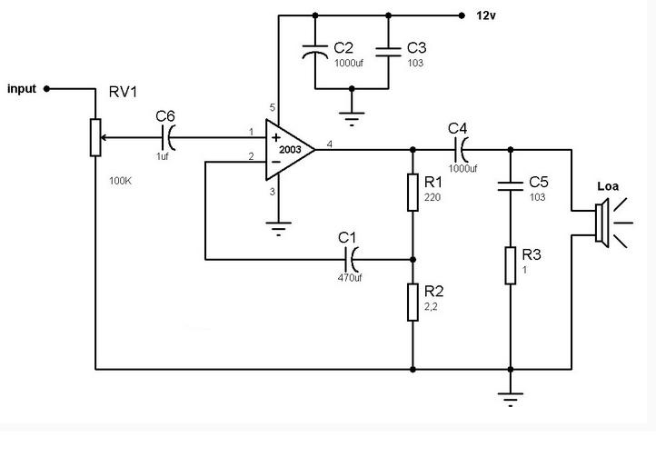 Mạch khuếch đại âm thanh dùng TDA2003