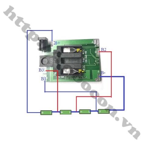 Sơ đồ đấu Mạch Sạc Và Bảo Vệ Pin 4S-14.4V-16.8V Chế Pin Máy Khoan